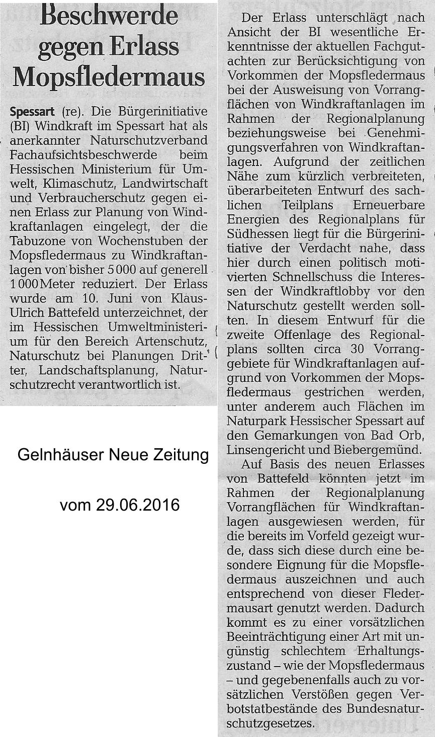 20160629_GNZ_Beschwerde gegen Erlass Mopsfledermaus