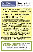 """Demo zum """"Politischen Aschermittwoch der CDU-Hessen"""" am 15. März in Volkmarsen"""