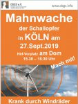 Mahnwache der Schallopfer am 27. September 2019 in Köln
