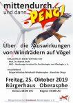 """Vortrag """" Über die Auswirkungen von Windrädern auf Vögel"""" am 25. Oktober in Oberasphe"""