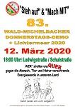 83. Wald-Michelbacher Donnerstagsdemo und Lichtermeer am 12. März 2020